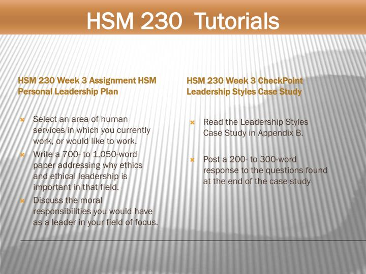 hsm230 wk 3 leadership styles case