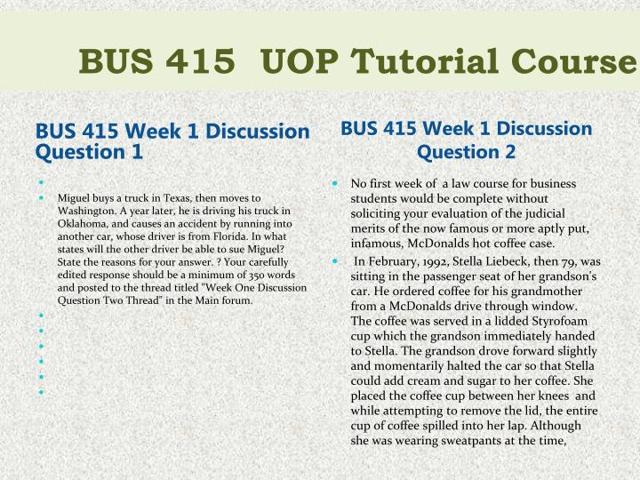 bus 415 week 5 discussion questions