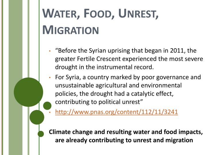 Water, Food, Unrest, Migration
