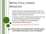 water food unrest migration