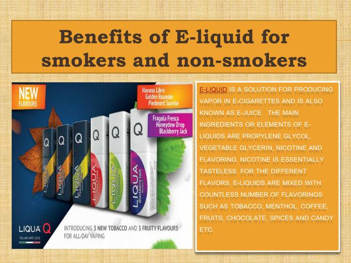 Benefits of e liquid for smokers and non smokers