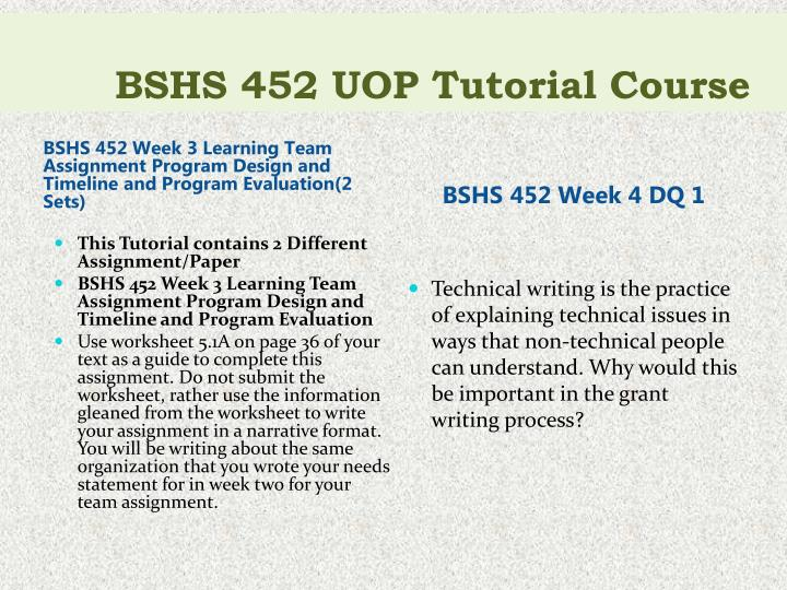 bshs 452 complete class program design Bshs 452 week 3 program design and timeline and program evaluation buy solutions: resources: proposal content instructions, worksheet 51a, and worksheet 6.
