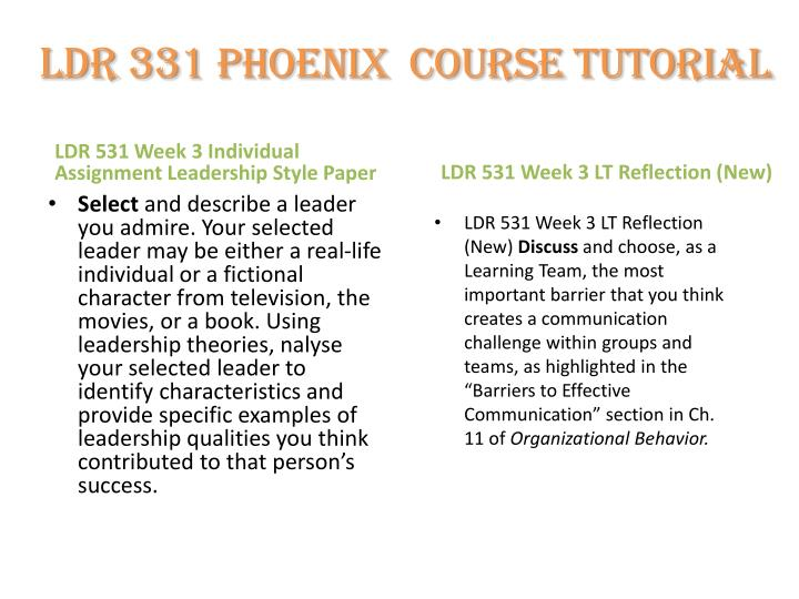 leadership theories and styles university phoenix ldr