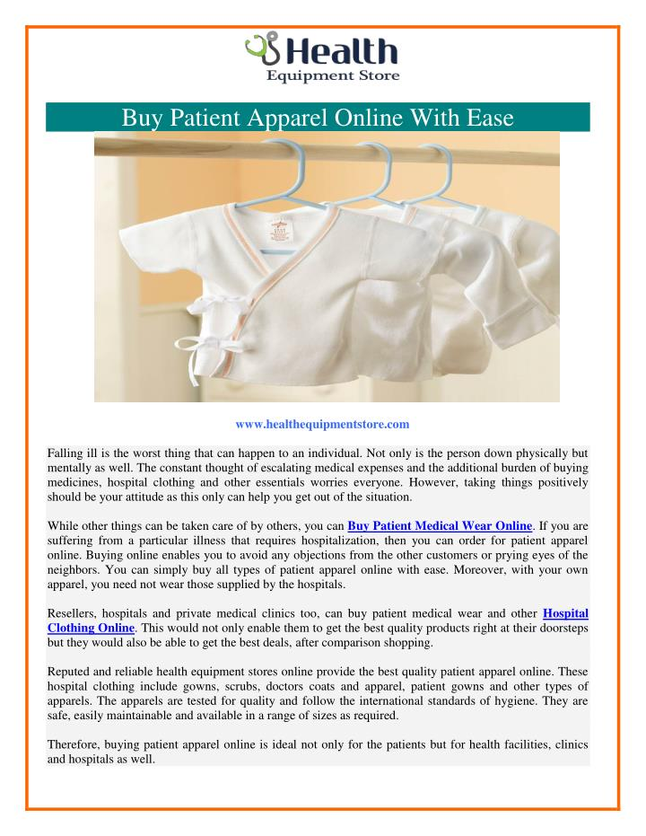 Buy Patient Apparel Online With Ease