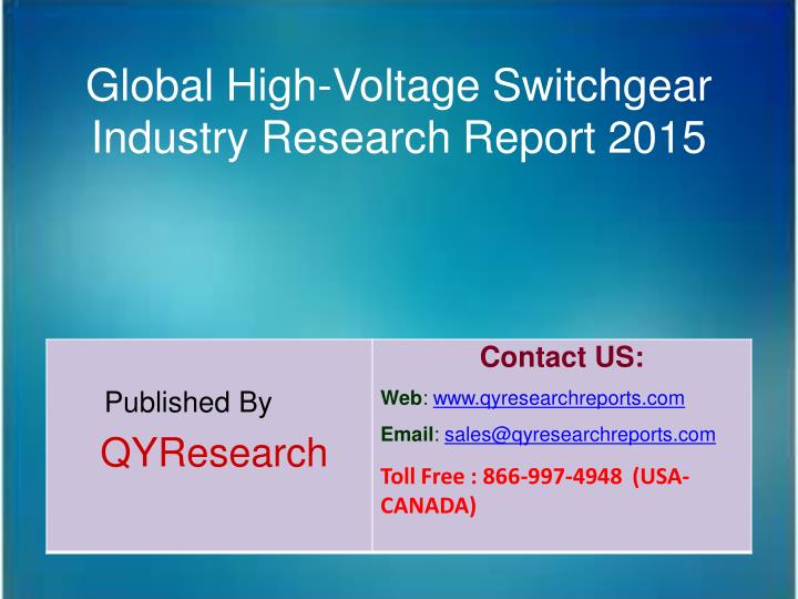 Global High-Voltage Switchgear