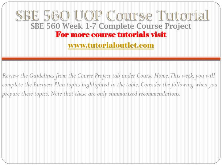 Sbe 56o uop course tutorial1
