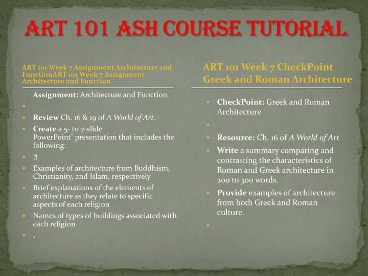 art 101 week 7 checkpoint greek and roman architecture