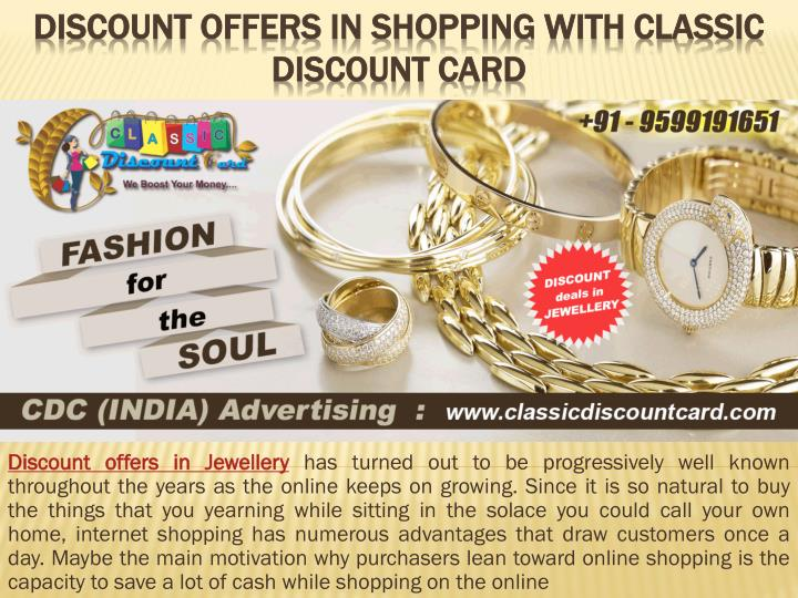 discount offers in shopping with classic discount card n.