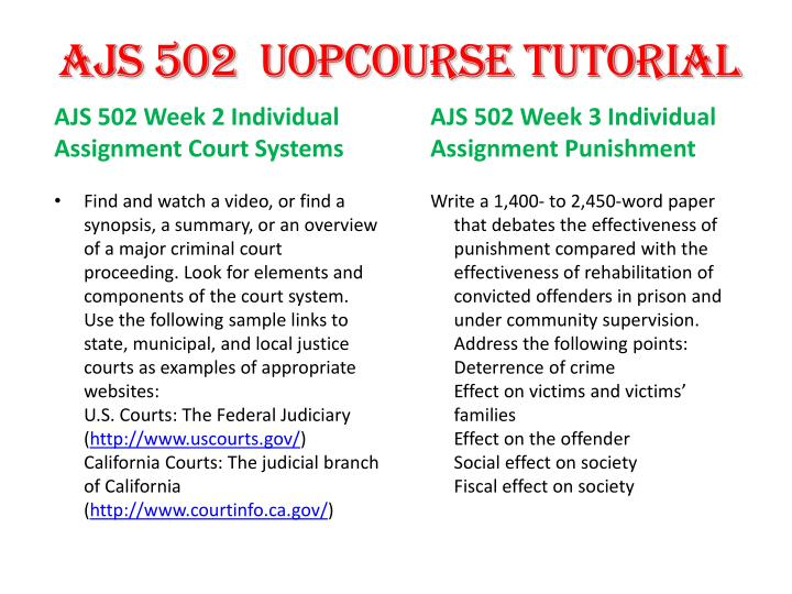 ajs 502 court systems paper Ajs 502 week 3 individual assignment punishment versus rehabilitation paper paper (uop)pdf ajs 502 week 4 court systems paper.