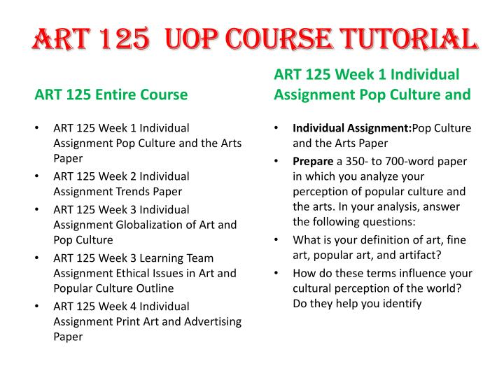ART 125  UOP Course
