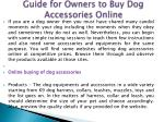 guide for owners to buy dog accessories online