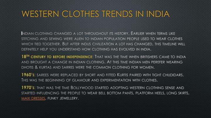 Western clothes trends in india