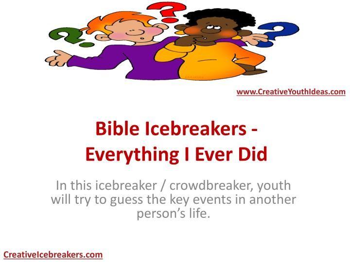 bible icebreakers everything i ever did n.