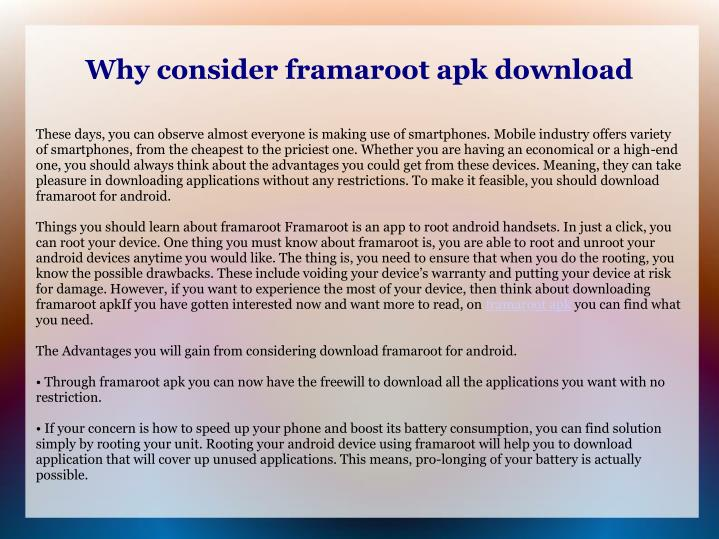 why consider framaroot apk download n.