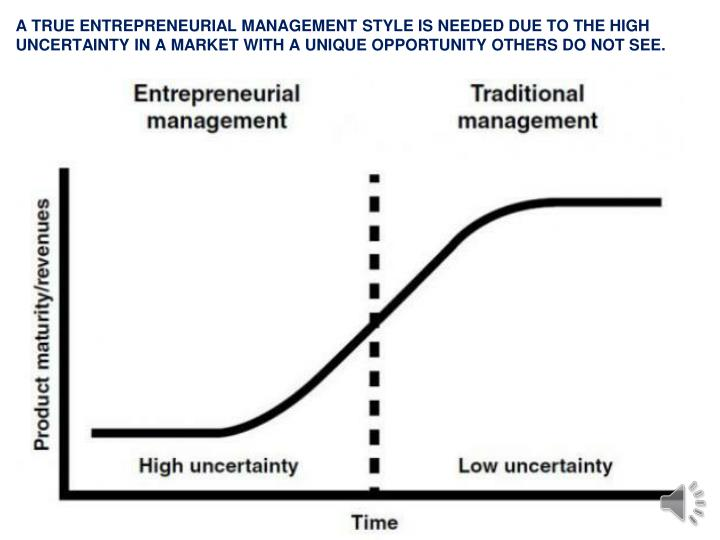 A TRUE ENTREPRENEURIAL MANAGEMENT STYLE IS NEEDED DUE TO THE HIGH UNCERTAINTY IN A MARKET WITH A UNIQUE OPPORTUNITY OTHERS DO NOT SEE.