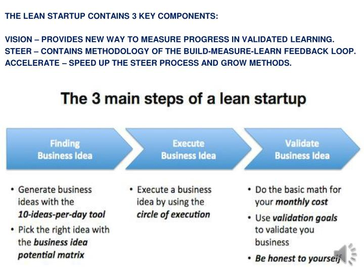 THE LEAN STARTUP CONTAINS 3 KEY COMPONENTS: