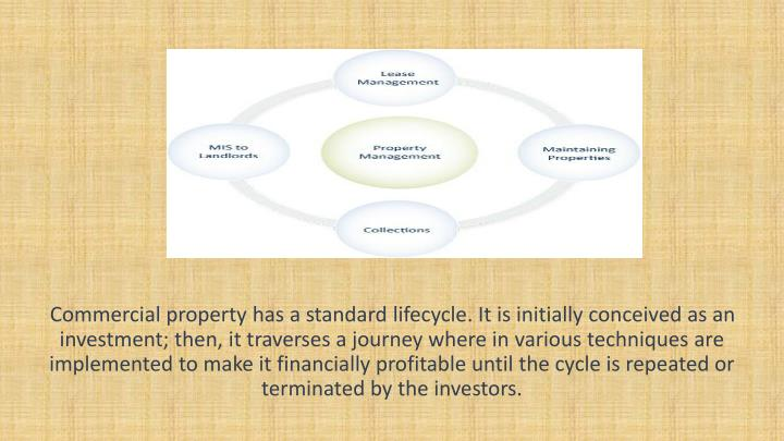 Commercial property has a standard lifecycle. It is initially conceived as an investment; then, it t...