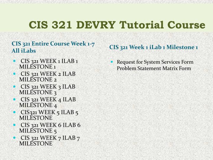 Cis 321 devry tutorial course1