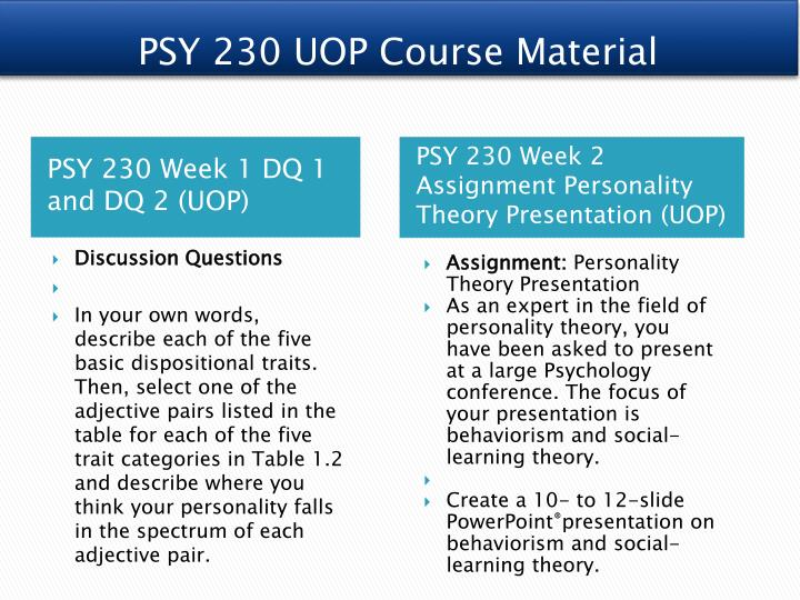 appendix b history of personality psychology psy 230 Â resource: pp 21-26 in ch 1 of the person and appendix b list and explain at least five of the events or major concepts found in each of the three historic periods of personality psychology.