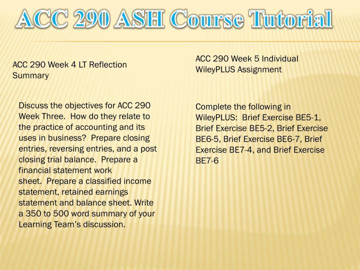acc 290 week 5 reflection