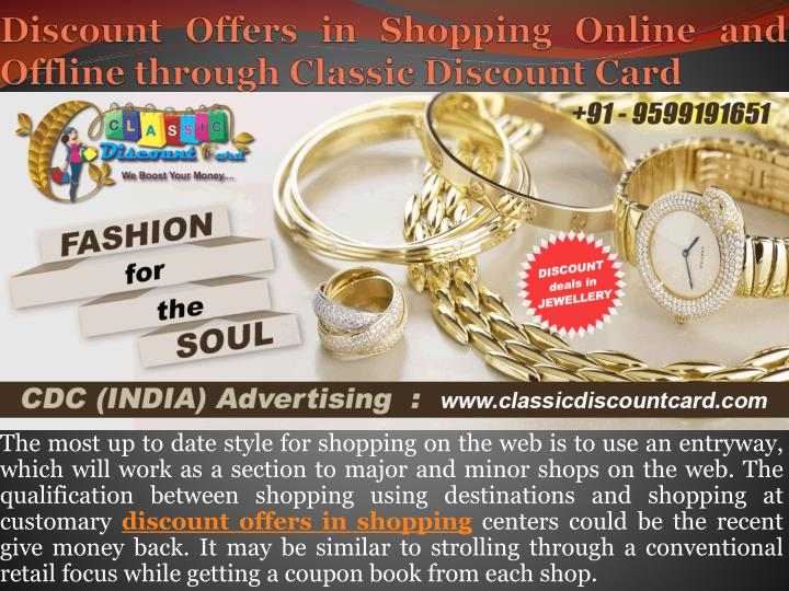 discount offers in shopping online and offline through classic discount card n.