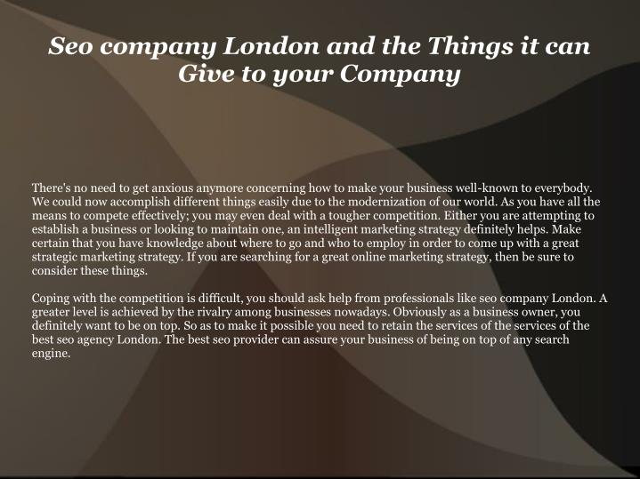 seo company london and the things it can give to your company n.