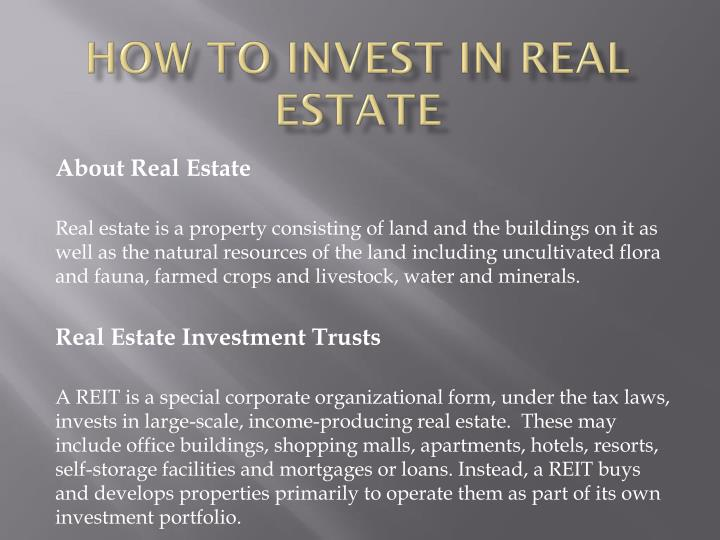 how to invest in real estate n.