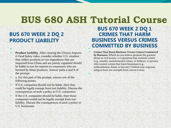 bus670 week 6 discussion 2 Ashford university bus670 legal environment - free download as (rtf), pdf file (pdf), text file (txt) or read online for free edu 656 week 2 discussion 1.