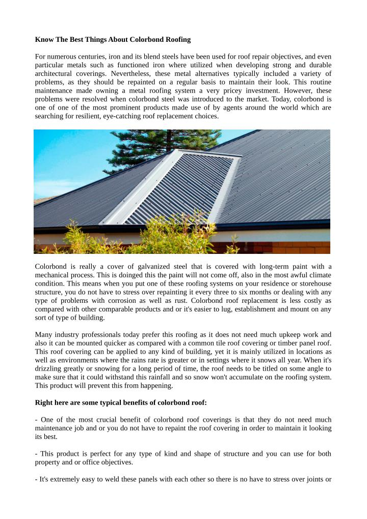 Know The Best Things About Colorbond Roofing