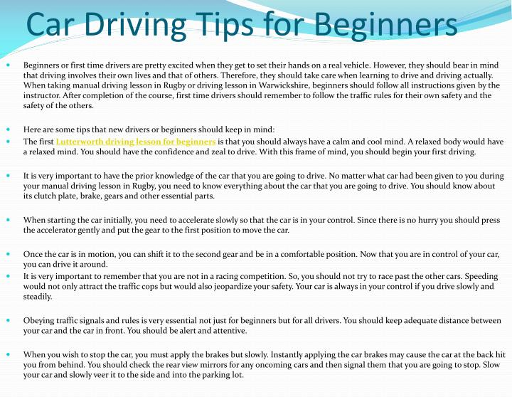 PPT - Car Driving Tips for Beginners PowerPoint Presentation