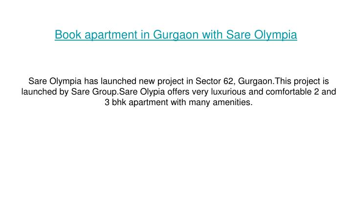book apartment in gurgaon with sare olympia n.