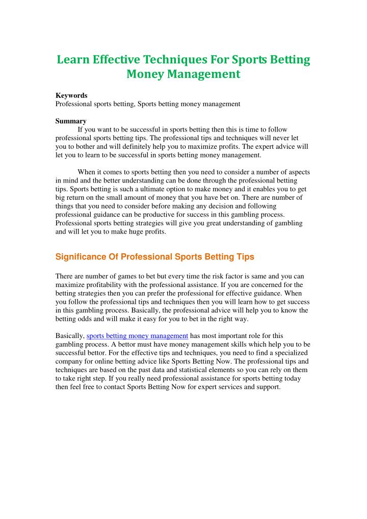 Learn Effective Techniques For Sports Betting