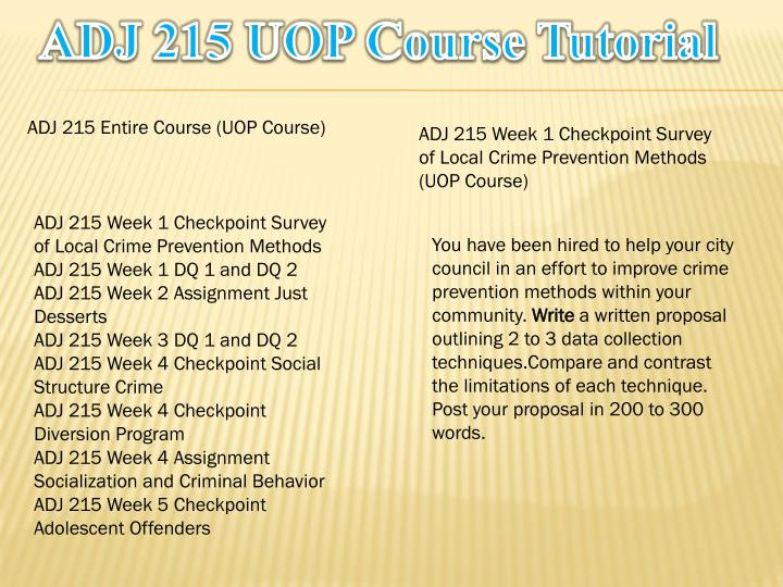 Adj 215 uop course tutorial