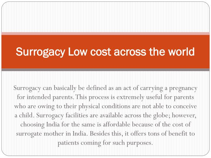 surrogacy low cost across the world n.