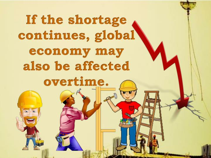 If the shortage continues, global economy may also be affected overtime.