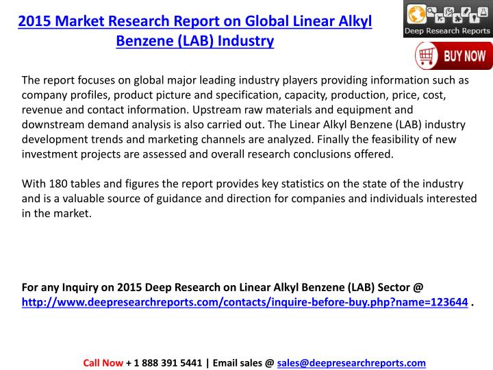 2015 Market Research Report on Global Linear Alkyl Benzene (LAB) Industry