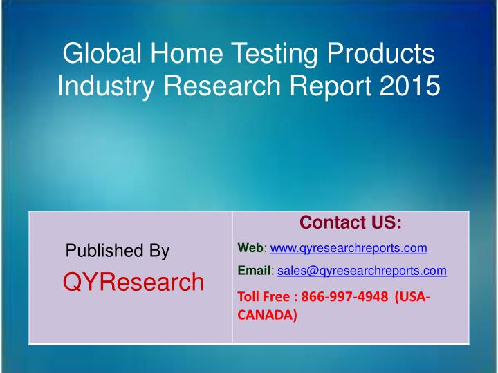 Global Home Testing Products