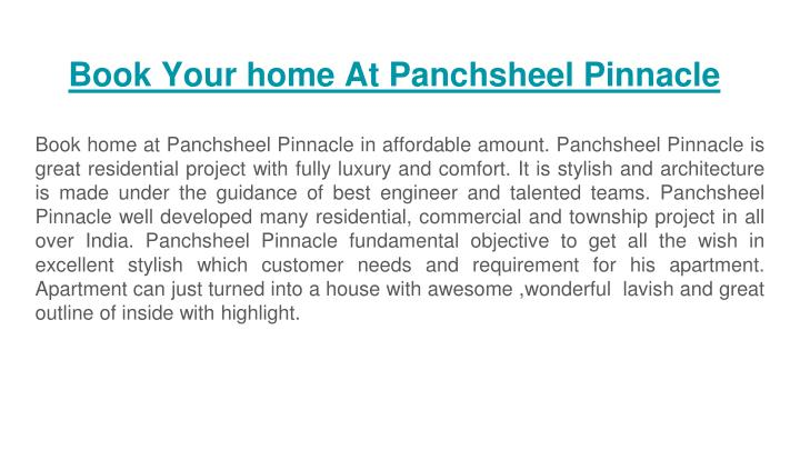 book your home at panchsheel pinnacle n.