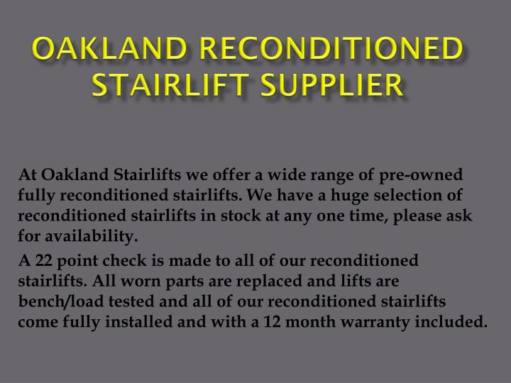 oakland reconditioned stairlift supplier n.