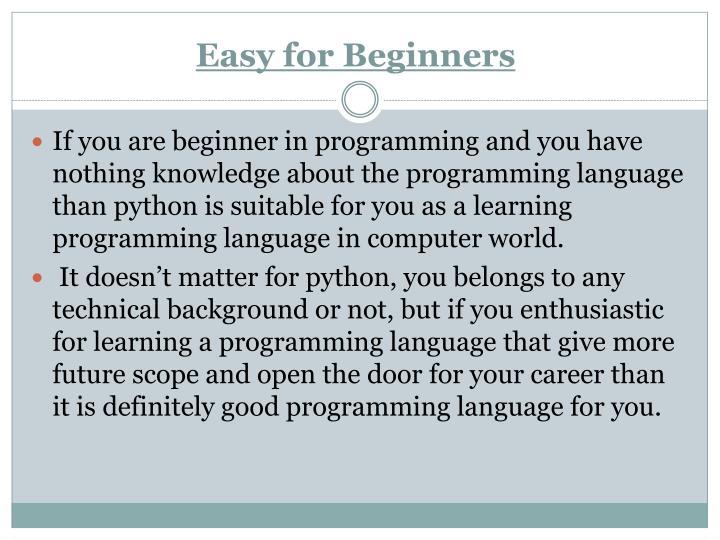Easy for Beginners