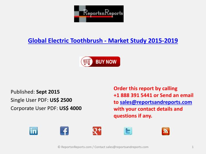 global electric toothbrush market study 2015 2019 n.