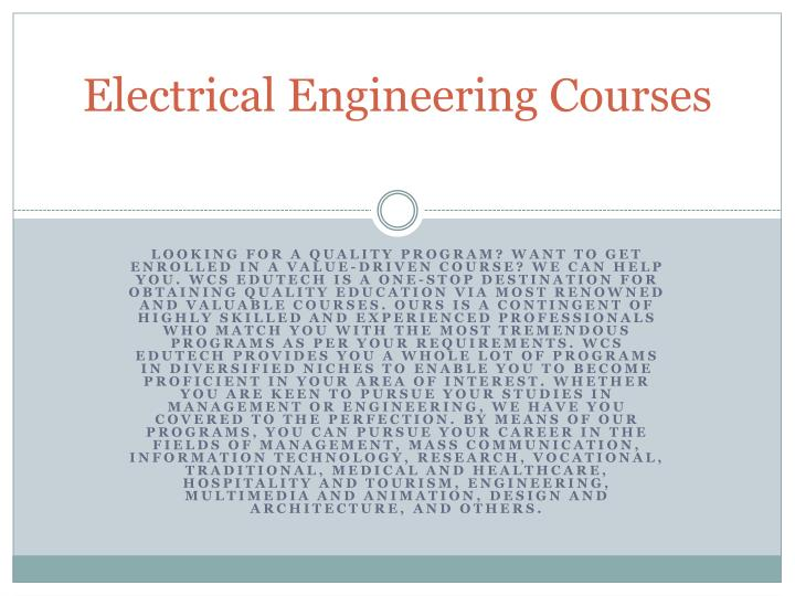 electrical engineering courses n.