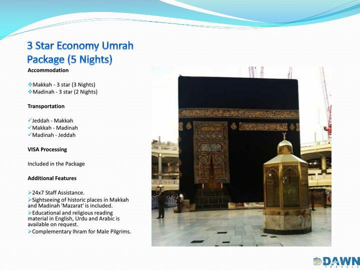 3 star economy umrah package 5 nights