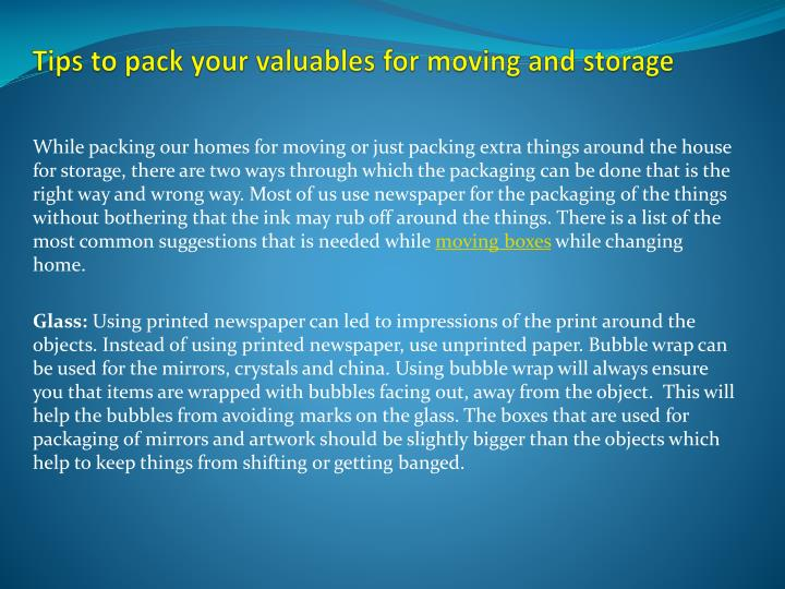 tips to pack your valuables for moving and storage n.