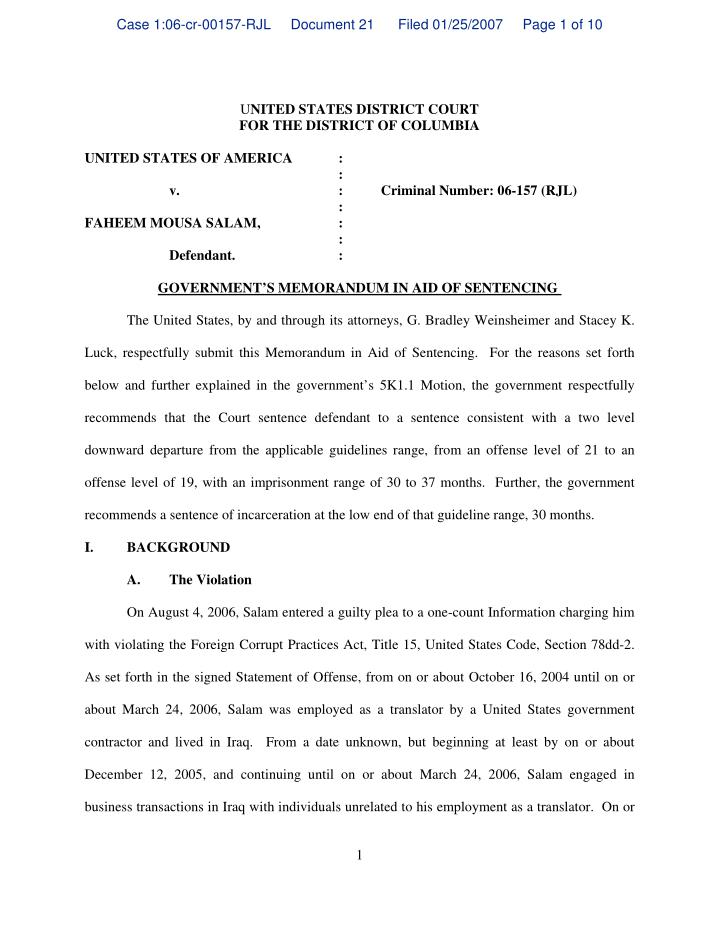 Case 1:06-cr-00157-RJL     Document 21      Filed 01/25/2007     Page 1 of 10