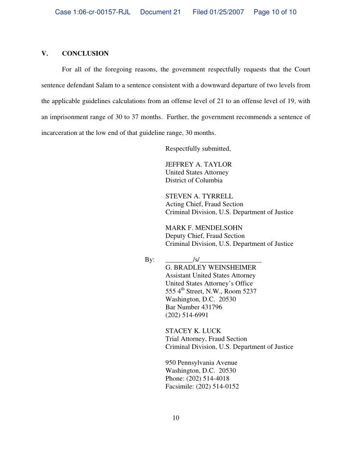 Case 1:06-cr-00157-RJL     Document 21      Filed 01/25/2007     Page 10 of 10