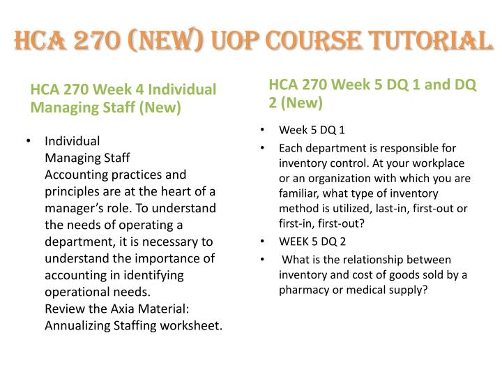 week 4 hca 270 annualizing staff Study flashcards on hca 270 (version 3) week 4 individual managing staff at cramcom quickly memorize the terms, phrases and much more cramcom makes it easy to get the grade you want.