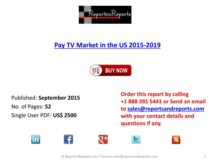 pay tv market in the us 2015 2019 n.
