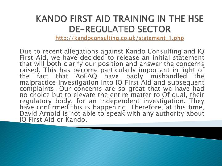 kando first aid training in the hse de regulated sector http kandoconsulting co uk statement 1 php n.