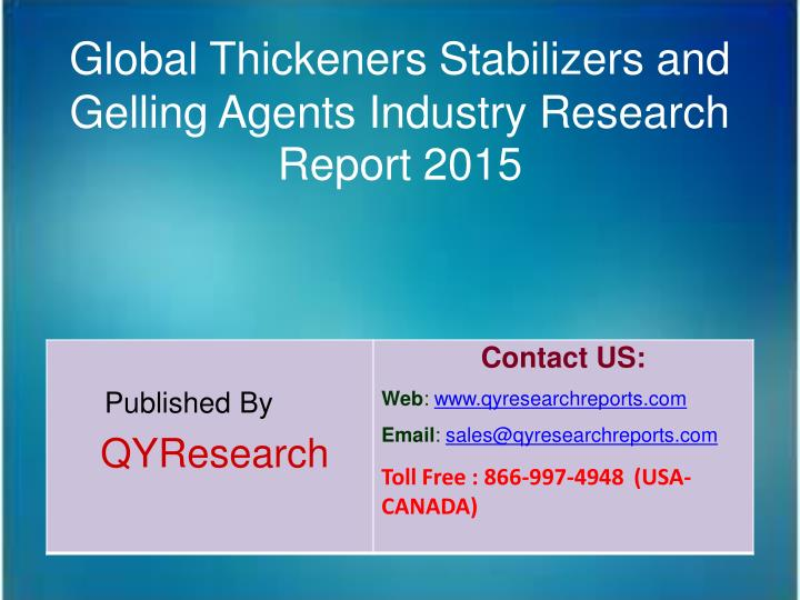 Global Thickeners Stabilizers and